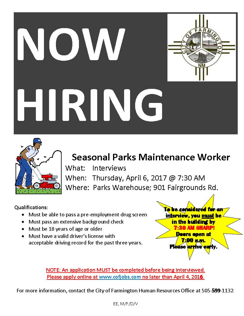 Seasonal Parks Maintenance Worker Flyer 4-6-17